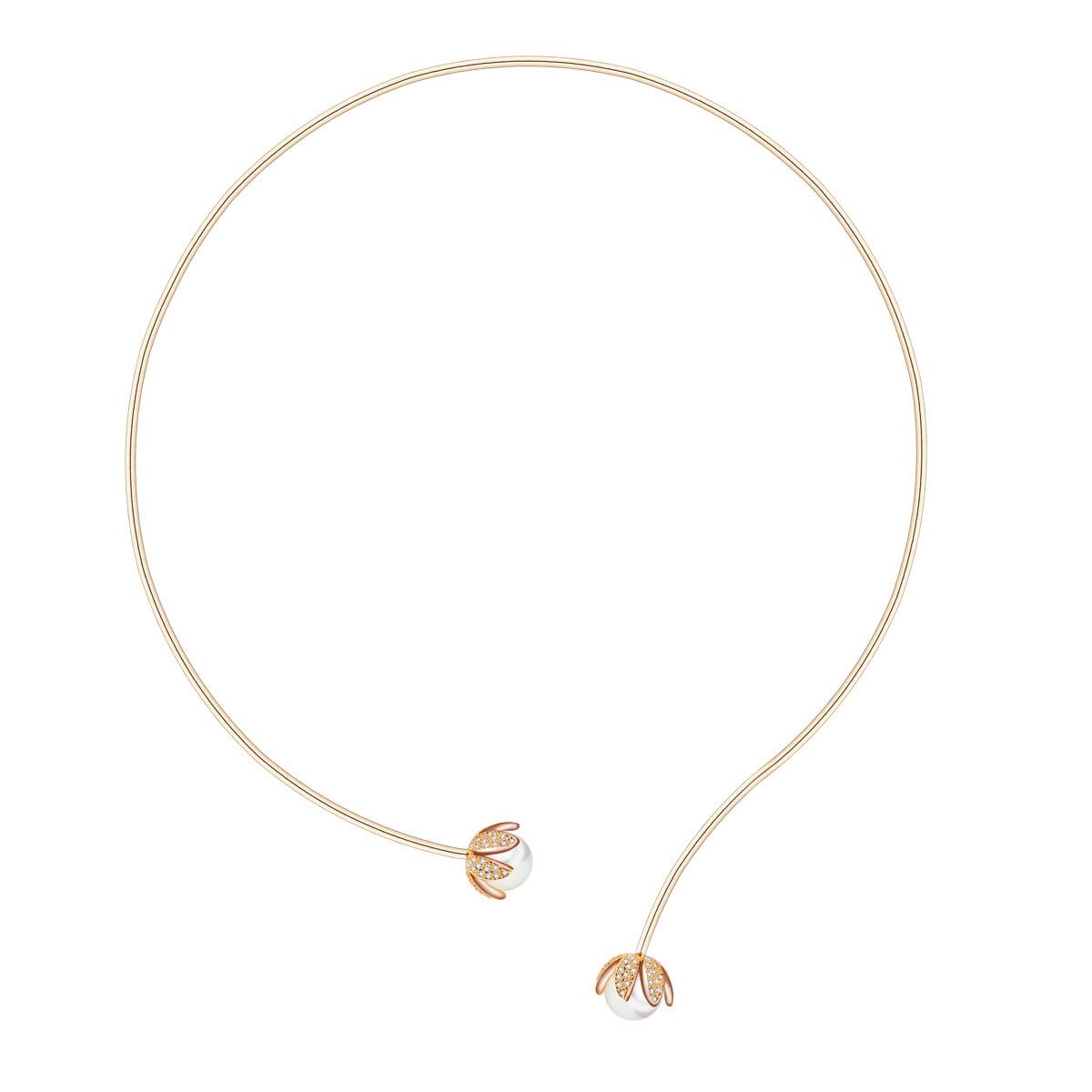 2019 nouveau minimaliste ouverture argent Champagne or couleur couples colliers pour femmes fleur perle cuivre collier ras du cou