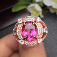 Gems Size 9 11mm Fine Jewelry 925 Sterling Silver Natural Pink Topaz Ring Promise Rings Womens