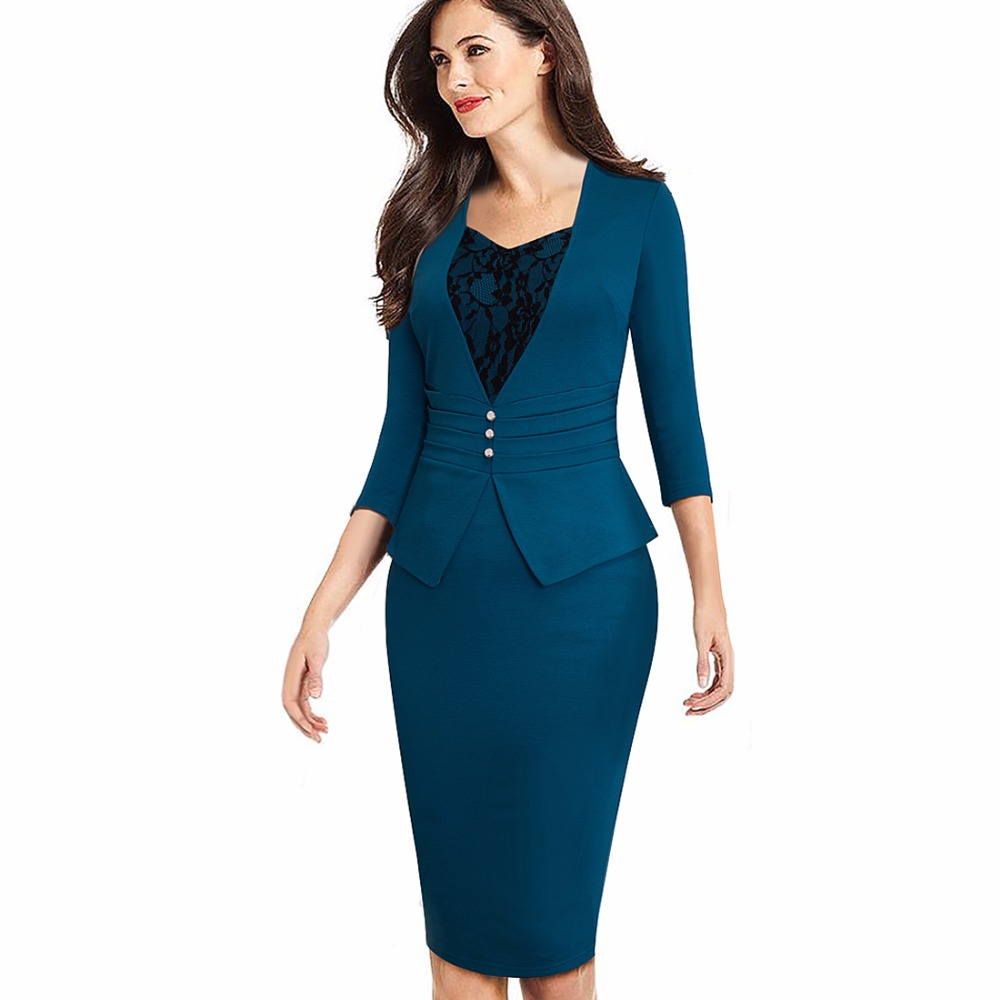 Women Elegant Formal Work Business Office Chic Buttons Peplum Fitted Sheath Bodycon Pencil Dress EB361