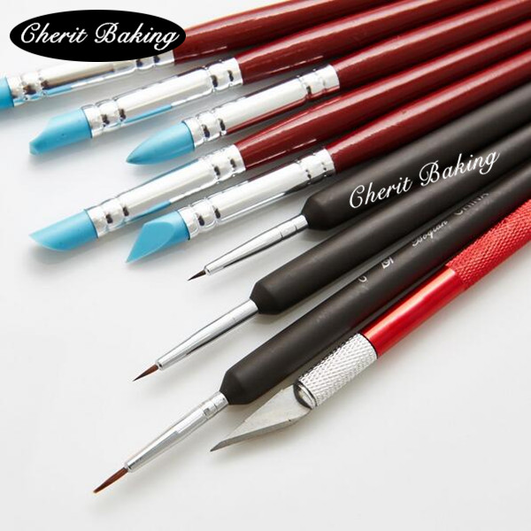 Baking Tools High Quality Paint Brush Silicone Brush Acto Knife Icing Cake Decorating Sugarcraft Styling Modelling Fondant(China)