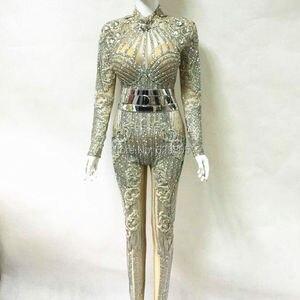 Image 4 - 패션 밝은 크리스탈 다이아몬드 점프 슈트 파티 rompers 의상 여성 싱어 공연 댄스 파티 복장 바디 슈트