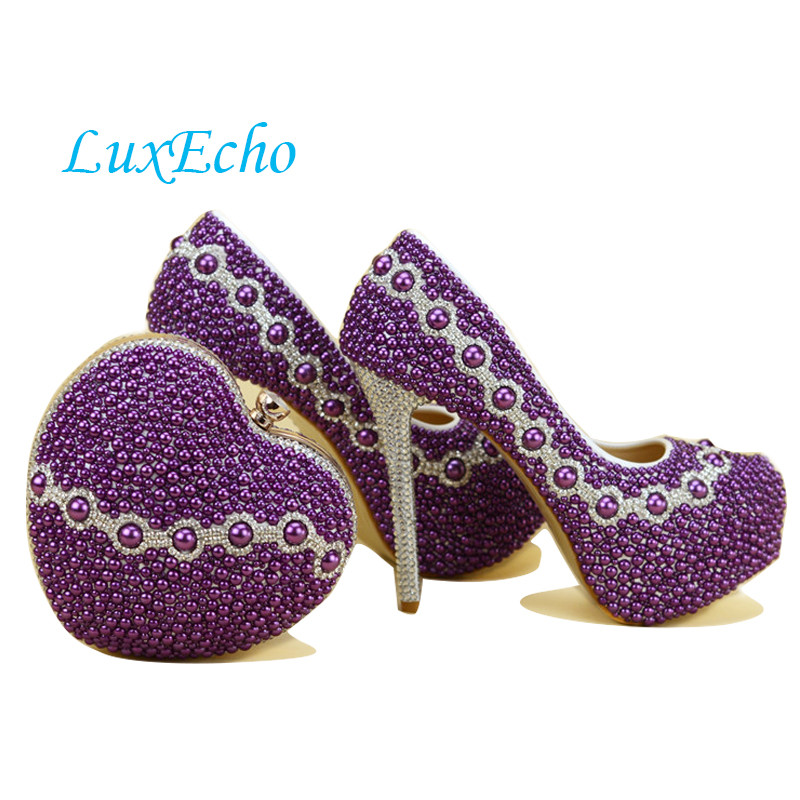 New Arrival Purple Pearl shoes and bags to match woman shoes with matching bags heart wedding high heels womens Pumps shoes baoyafang red crystal womens wedding shoes with matching bags bride high heels platform shoes and purse sets woman high shoes