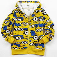 2016 Winter Children Jackets Cotton Boys Jacket Fleece Girl Coat Minions Kids Clothes Hooded Baby Outerwear