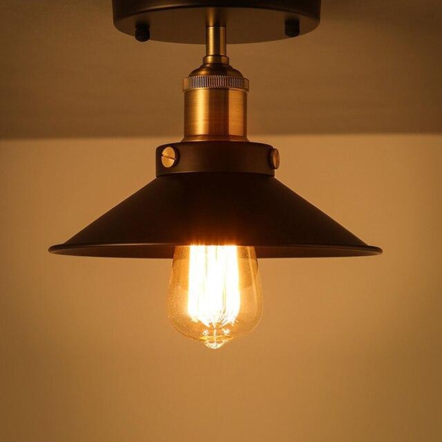 E27 loft vintage plafonnier rond rétro le design industriel lumière edison ampoule antique abat jour