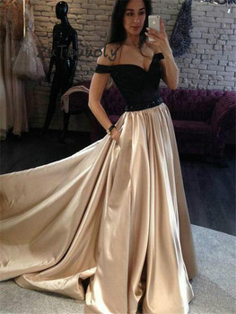 Vintage Black And Gold Prom Dresses With Pockets Full Length Satin Beaded Sash Formal Long Evening Dress Plus Size Girls Pageant