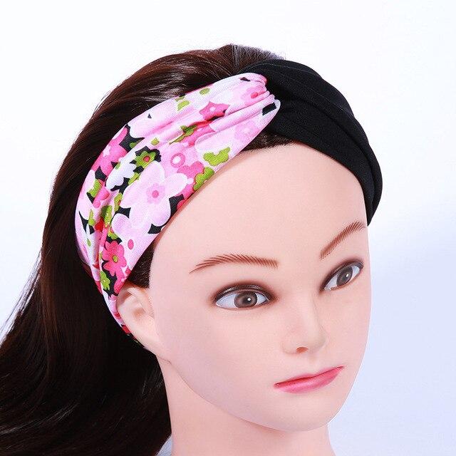 Boho New Fashion Small Flower Cloth Headband Crossed Flexible Hairband  Turban Head Wrap Hair Band Yoga make up Accessories 32ba450b781