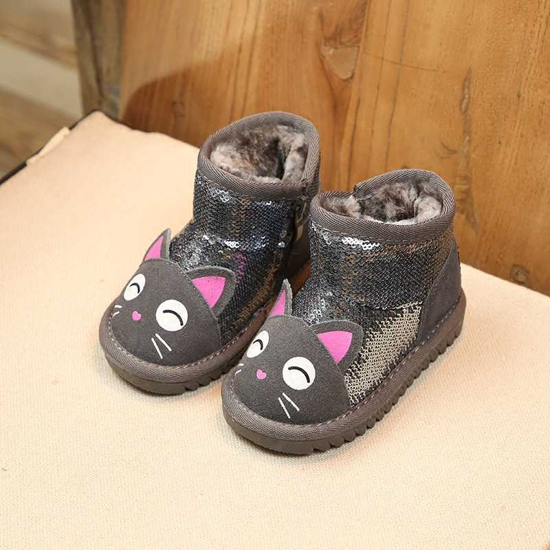 ... ULKNN Kids Snow Boots Toddle Baby Girls Warm Plush Shoes 2018 Winter  Children Sequins Ankle Boots ... 52541773299c