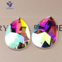Crystal Buttons Drop AB Color Two Holes TearDrop Sew On Stones Flatback Glass Beads Pear