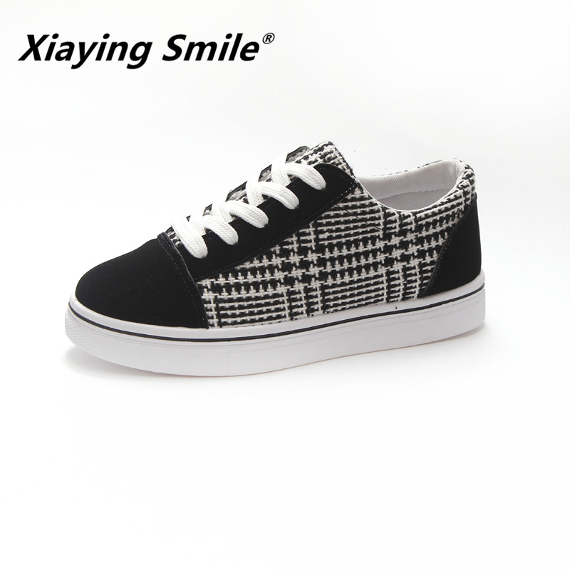 Xiaying Smile Shoes Women 2018 Sewing Canvas Shoes Female Spring/Summer/Autumn Casual Shoes Woman Students Harajuku Flats Shoes xiaying smile summer new woman sandals casual fashion shoes women zip fringe flats cover heel consice style rubber student shoes