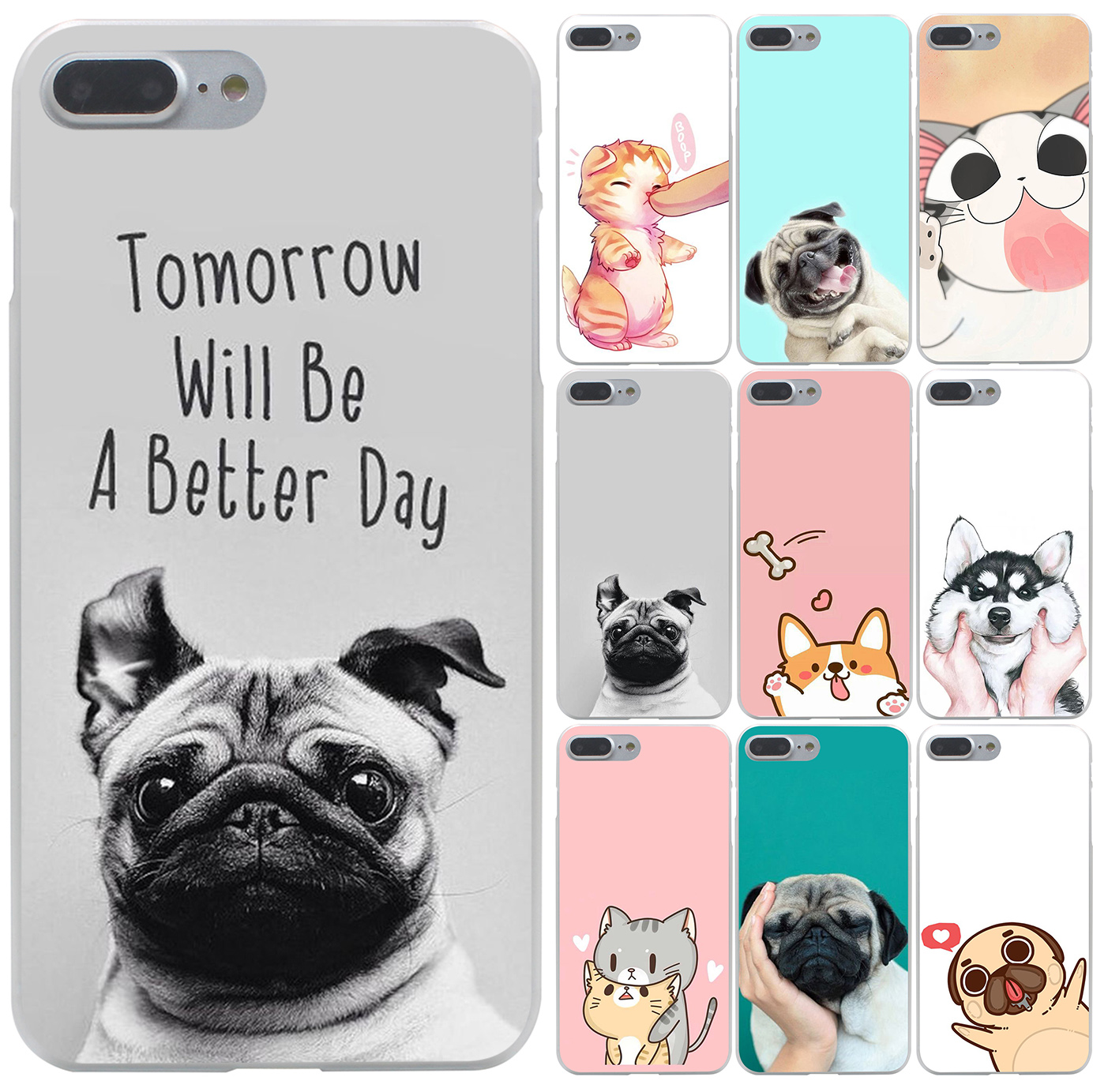 new Pug Dog cat Design Hard Case Transparent Cover for iPhone 7 7 Plus 6 6s Plus 5 5s 5c SE 4 4s