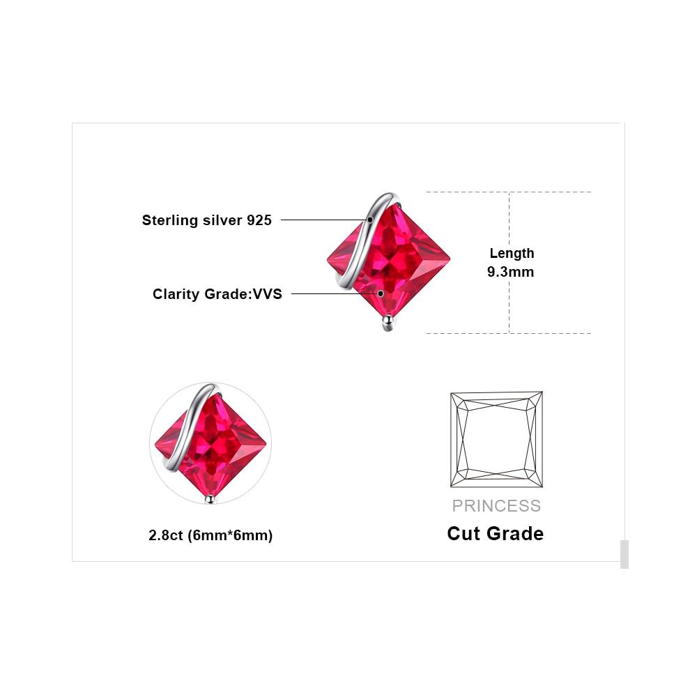 JewelryPalace Klasični trg 2.8ct Stvoren Crveni Ruby Stud Naušnice - Fine nakit - Foto 5