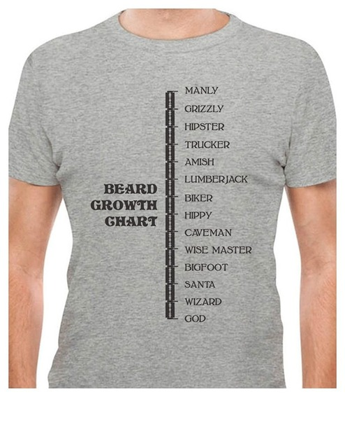 910b06f1d Beard Growth Chart Gift for Bearded Men - Manly - God Scale T-Shirt Men