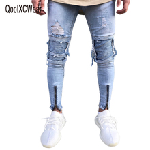QoolXCWear Brand Designer Slim Fit Ripped Jeans Men Hi-Street Mens Distressed Denim Joggers Knee Holes Washed Destroyed Jeans cheap Zipper Fly Solid Midweight Pencil Pants Moto Biker Full Length Plaid 1847 Light Acetate Cotton
