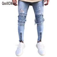QoolXCWear Marka Projektant Slim Fit Ripped Jeans Men Hi-Street Mężczyzna Biegaczy Zagrożone Denim Kolana Otwory Myte Zniszczone Dżinsy