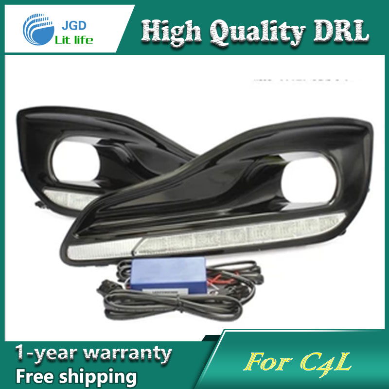 Free shipping !12V 6000k LED DRL Daytime running light case for Citroen C4L 2013 fog lamp frame Fog light Car styling