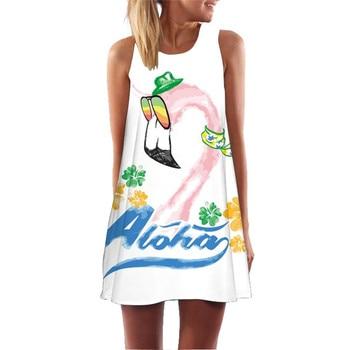 Women Print Dress 2020 New Arrival Floral Flamingo Sleeveless Summer Dress O Neck Casual Loose Mini Chiffon Dresses Vestidos 4