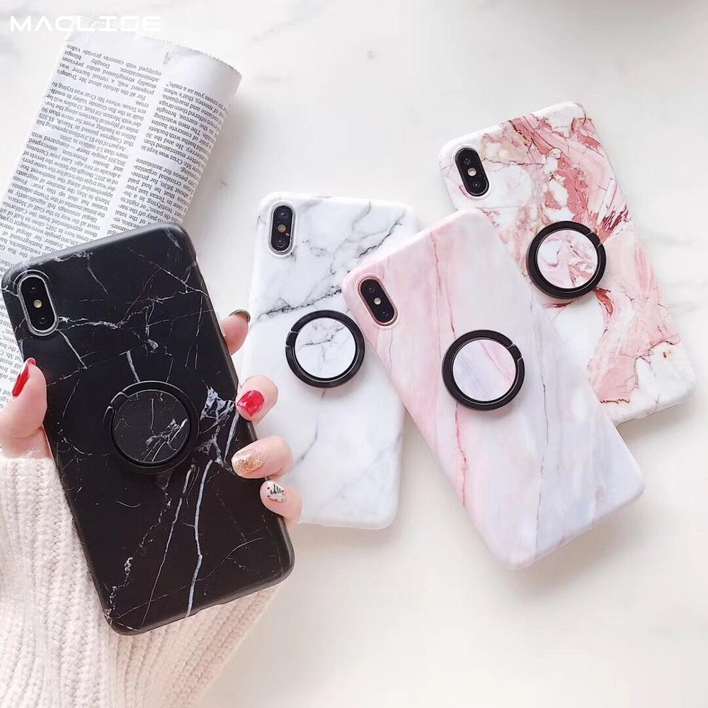 Marble Ring Buckle Stand Holder Phone Case For iPhone 7 Plus XS Max XR 6 8 Soft IMD Silicone Back Protect Cover