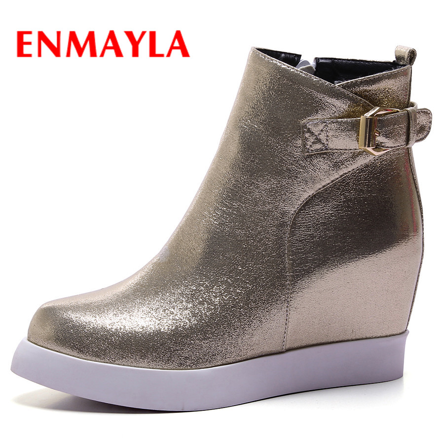 ENMAYLA New Womens Casual Winter Boots Round Toe Fashion Wedges Buckle Zipper PU Shoes Platform Ladies Warm