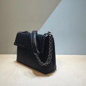 Image 3 - Iç ve dış dermis crossbody çanta basit omuz çantası yüksek kaliteli dokuma çanta koyun derisi kadın hakiki deri