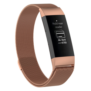 Image 5 - Wristband Metal Stainless Steel Milanese Magnetic Loop Band Strap For FitBit Charge 3 Smart Watch S M Size Optional