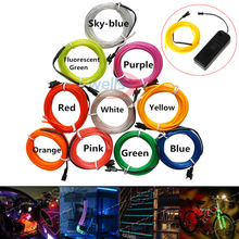 2m/3m/5m LED Neon Light Flexible Glow EL Wire Rope Tube tape waterproof use for Shoes Clothing Car Decorative etc