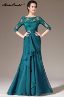 Для женщин торжественное платье элегантный 3/4 рукавом Русалка листья кружева мать невесты платья партии largos elegantes Гала