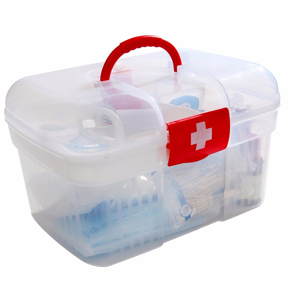 red first aid clear container bin family emergency kit storage box detachable tray family medicine metal - Metal Storage Containers