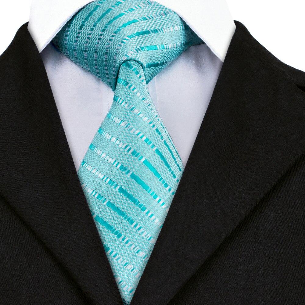 mens tie blue stripe silk jacquard necktie hanky cufflink
