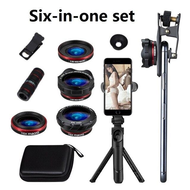 6 ב 1 טלפון עדשת סט 12X רחבה זווית מאקרו טלפון עדשת HD מעוותת מצלמה טלפון עדשת לחיות חצובה טלסקופ סט