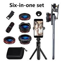 6 In 1 Set di Lenti di 12X Wide angle Macro Lens Telefono Del Telefono HD Obiettivo di Macchina Fotografica Del Telefono Senza Distorsioni In Diretta Treppiede telescopio Set