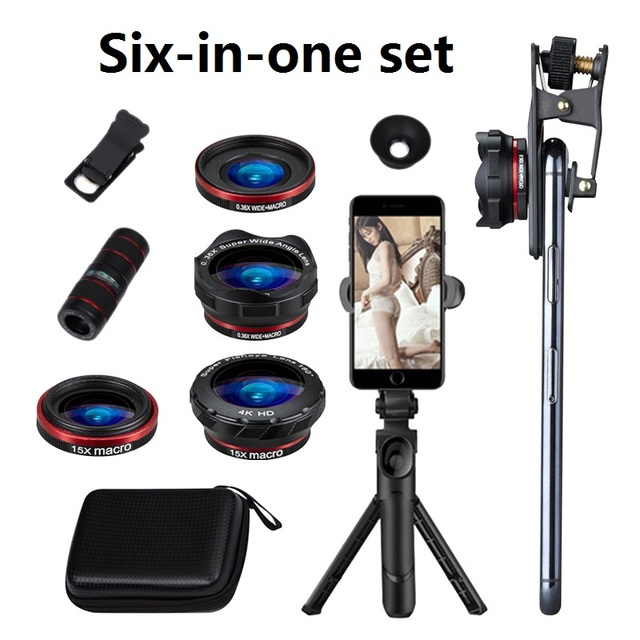 Conjunto de lentes de teléfono 6 en 1 12X gran angular Macro lente de teléfono HD Cámara no distorsionada lente de teléfono en vivo trípode telescopio conjunto