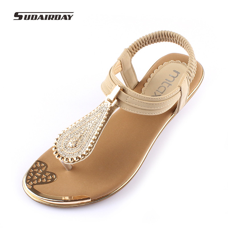 2017 fashion Women Summer Flat Heel Sandals Women Comfortable Soft Bottom Rhinestone Sandals Bohemia Beaded Flip Flops Size 41 2016 fashion summer women flat beaded bohemia ppen toe flat heel sweet women students beach sandals o643