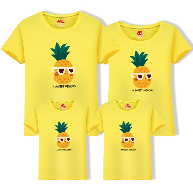 03c13cd1 Family look matching t-shirts father and son tops pineapple print mother daughter  tees short sleeve mom dad baby family clothing