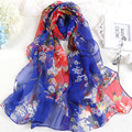 Korea Fashion Silk Floral Scarf For Women Muslim Hijab  Bandana Chiffon Georgette Scarves Long Shawl Summer Sunscreen