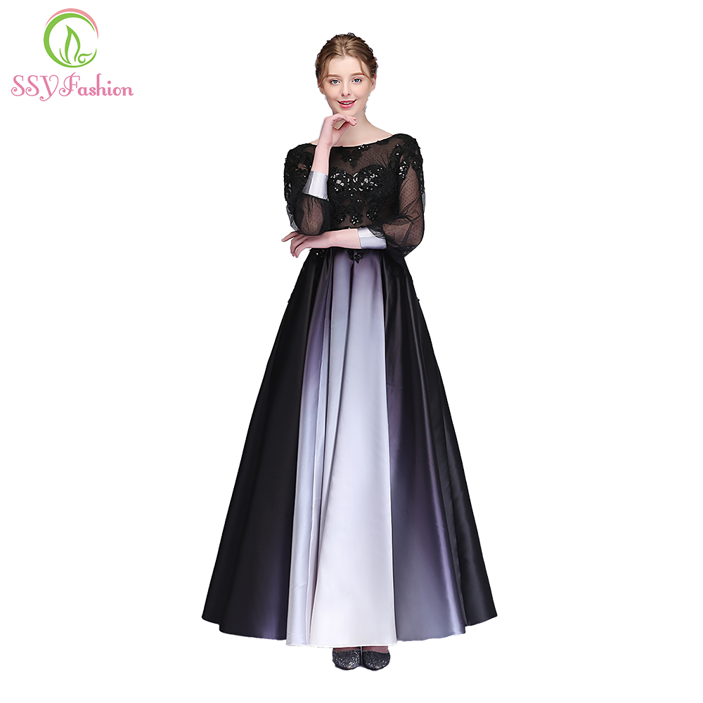 Clearance Evening Dress The Banquet Elegant Long Sleeved Floor-length Black Lace Appliques Gradient Color Party Formal Gown