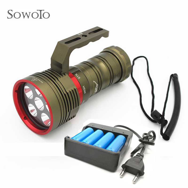 18000Lm Powerful Waterproof Tactical Dive Underwater 6 XM L2 LED Diving Flashlight Torch Flash Light Lamp