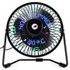 6 Inch 3 In 1 Desktop Temperature LED Display Clock Fan Mini USB Table Fan Aug29