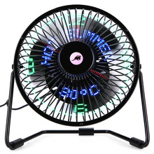 6 Inch 3-in-1 Desktop Temperature LED Display Clock Fan Mini USB Table Fan Aug29 Professional Factory Price Drop Shipping