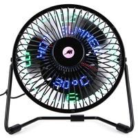 6 Inch 3 In 1 Desktop Temperature LED Display Clock Fan Mini USB Table Fan Aug29