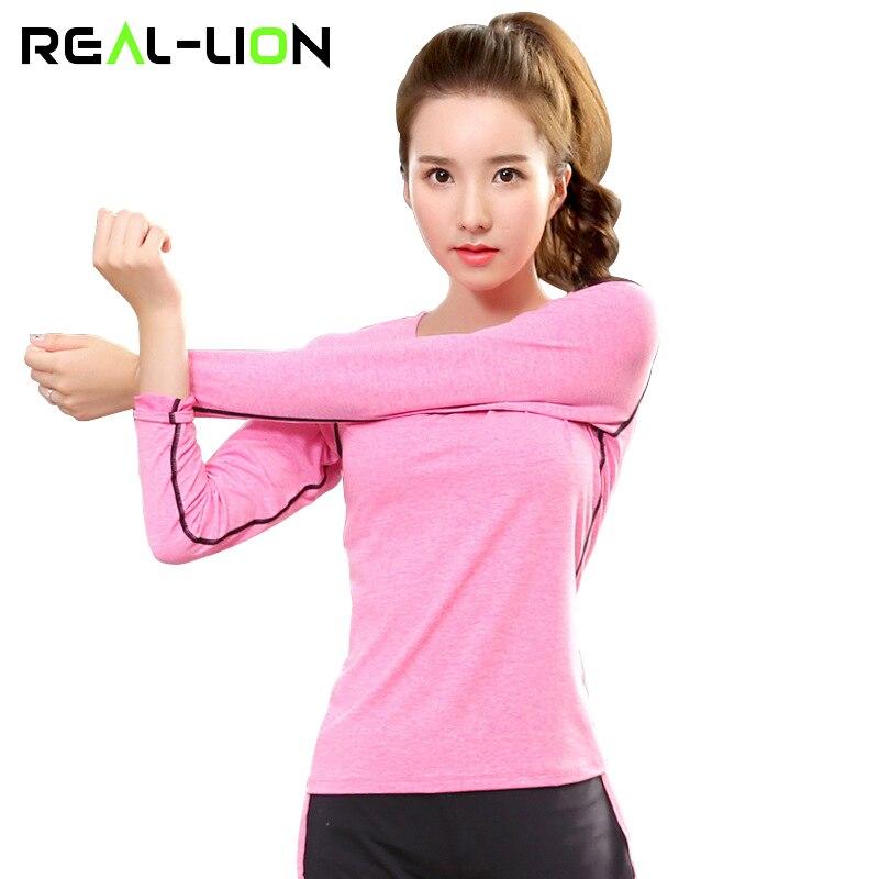 RealLion női jóga sport felsők hosszú ujjú szilárd sport ingek lélegző stretch aktív sportruházat gyorsan száraz növény sport jóga top