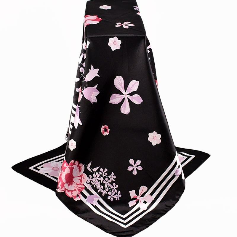 Fashion Print Silk Scarf Women Luxury Brand Satin Foulard Square Shawls Female 90*90cm Square Head Scarfs Bandana Muslim Hijab