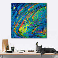 GoldLife Wall Art Picture Abstract Animals Oil Painting Print Fish on Canvas Cuadros For Living Room Decor