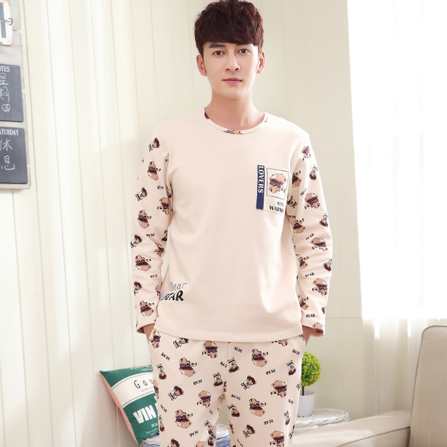 Autumn Winter Cotton Men's Pajamas Long Sleeve Homewear Cartoon Bear Pyjamas Sleepwear Couple Pajama Sets Plus size 3XL Lounge