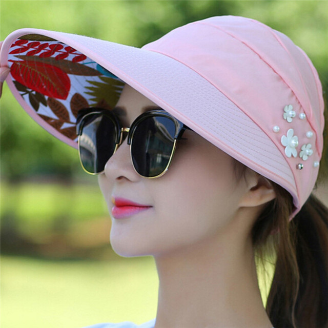 9849bcb8cd156 1PCS Women Summer Sun Hats Pearl Packable Sun Visor Hat With Big Heads Wide  Brim Beach Hat UV Protection Female Cap