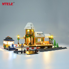 MTELE مصباح ليد حتى عدة لفصل الشتاء قرية محطة الإضاءة مجموعة متوافق مع سلسلة الخالق 10259 (لا تشمل النموذج)