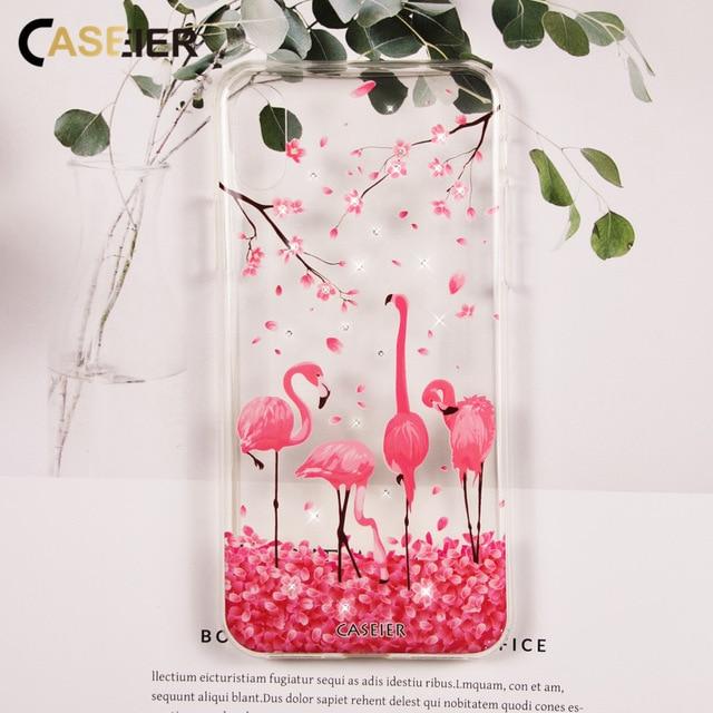 CASEIER Glitter Phone Case For iPhone 6 6s Plus Rhinestone Flaming Silicone Cover For iPhone X 7 8 Plus 5 5s SE Funda Capinha
