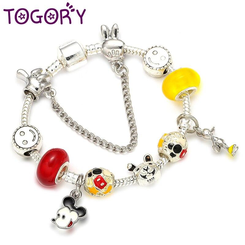 7b21723b99cb TOGORY 2018 nuevo de dibujos animados Mickey encanto pulseras y brazalete de  moda Original bricolaje rojo Minnie pulsera de la marca para los niños de  las ...