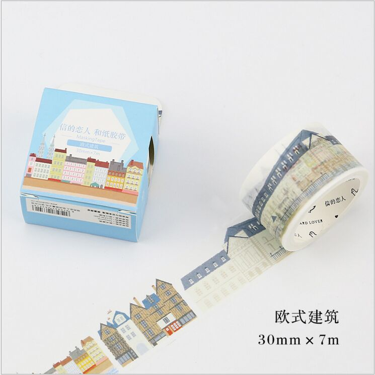 30mm Wide European Architecture House Building Happy Life Washi Tape DIY Decoration Planner Scrapbook Sticker Label Masking Tape