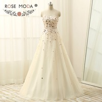 Bling Strapless Gold Sequined A Line Evening Dress Floor Length Lace Up Back Formal Dress Real