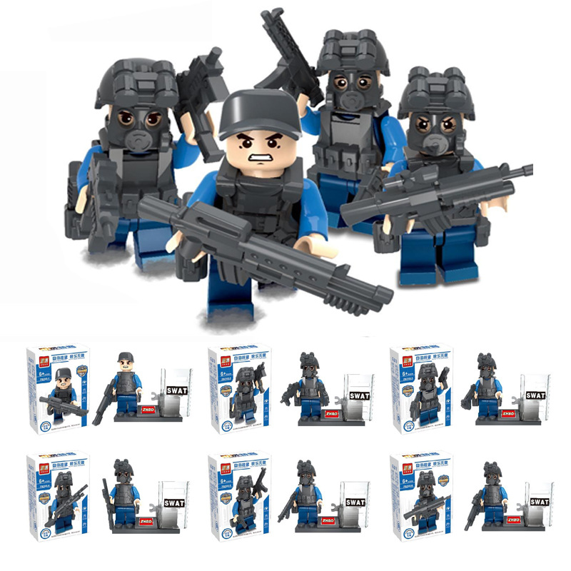 6Sets KAZI City Police SWAT CS Commando Army Soldiers Patrol Model Building Blocks DIY Figure Toys For Children Compatible Legoe military city police swat team army soldiers with weapons ww2 building blocks toys for children gift